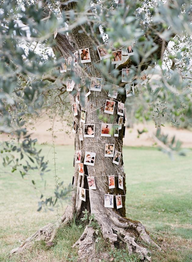 Polaroid foto's als bruiloft decoratie