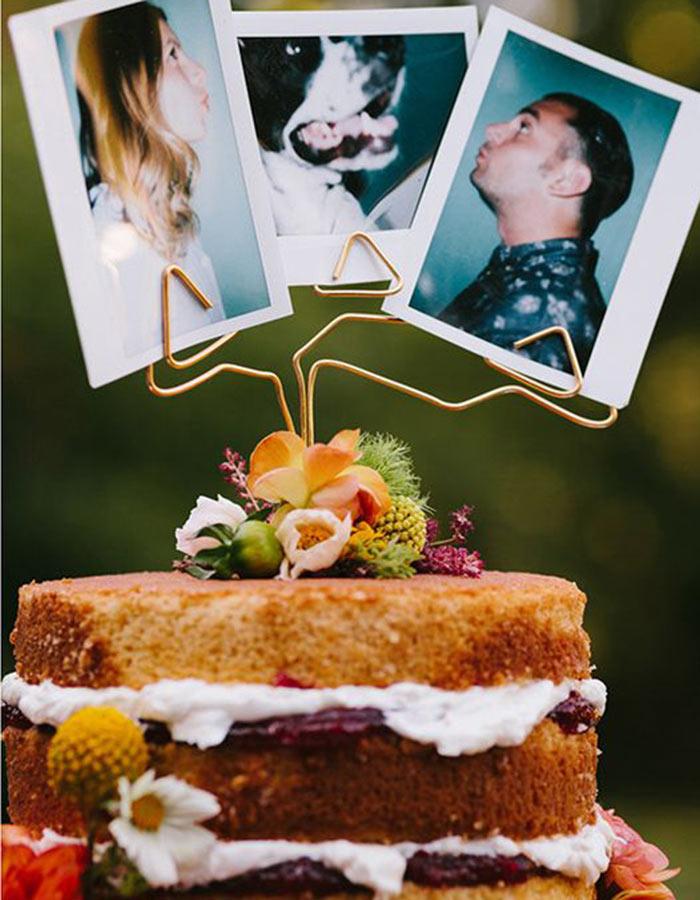 DIY taarttopper met polaroid foto's