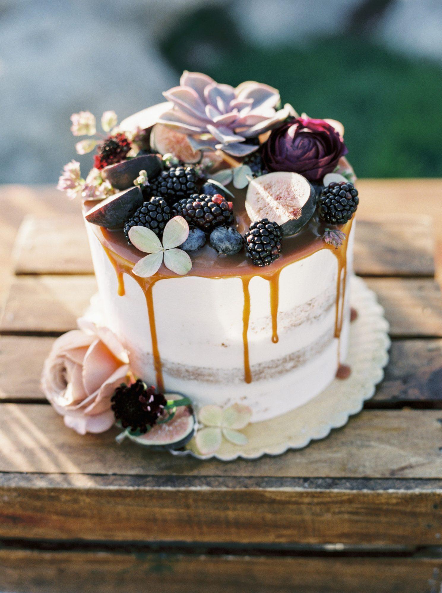 Dripping taart met vruchten