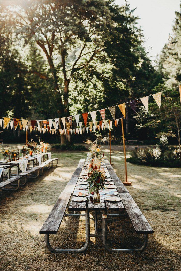 Vlaggetjes als bruiloft decoratie