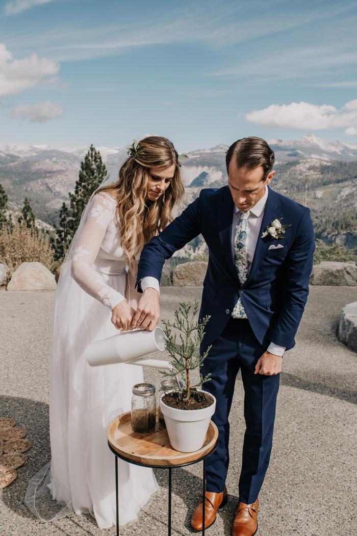 Bruidspaar is een boom aan het planten tijdens hun huwelijk