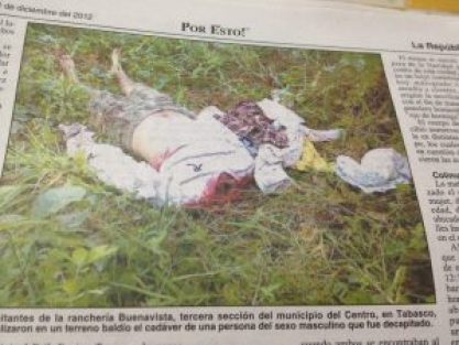 decapitated body in Mexican newspaper