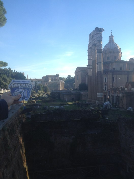 This was the second time that we'd seen the Roman Forum. This view was from above the forum. We stood for a while and just looked at it from this relatively private place. It was fun to imagine the ancient Romans going about their daily business in this old, ruined city.