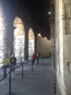 Just inside the Colosseum, we walked along this path to the ticketing station.