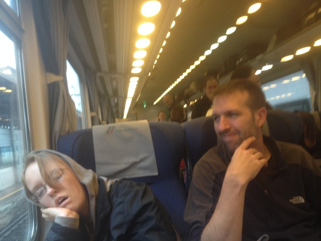 The train was pretty cramped and after six hours, it was hard to find a comfortable position. Lydia managed to fall asleep for a little while though.