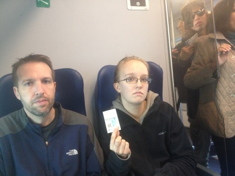 Lydian is holding up the train ticket. It only took about 10 to 15 minutes to get from Mestre to Venice.