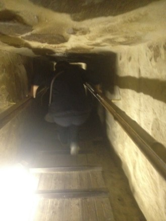 It was a little tight inside one of the pyramids.