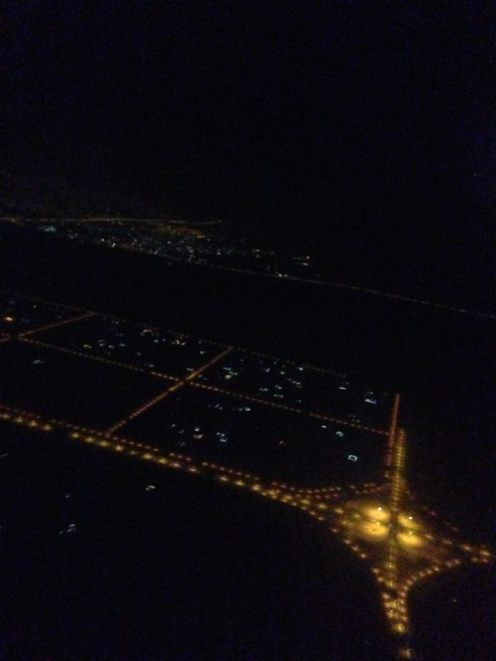 After an hour and a half on the runway, our plane finally took off over Dubai.