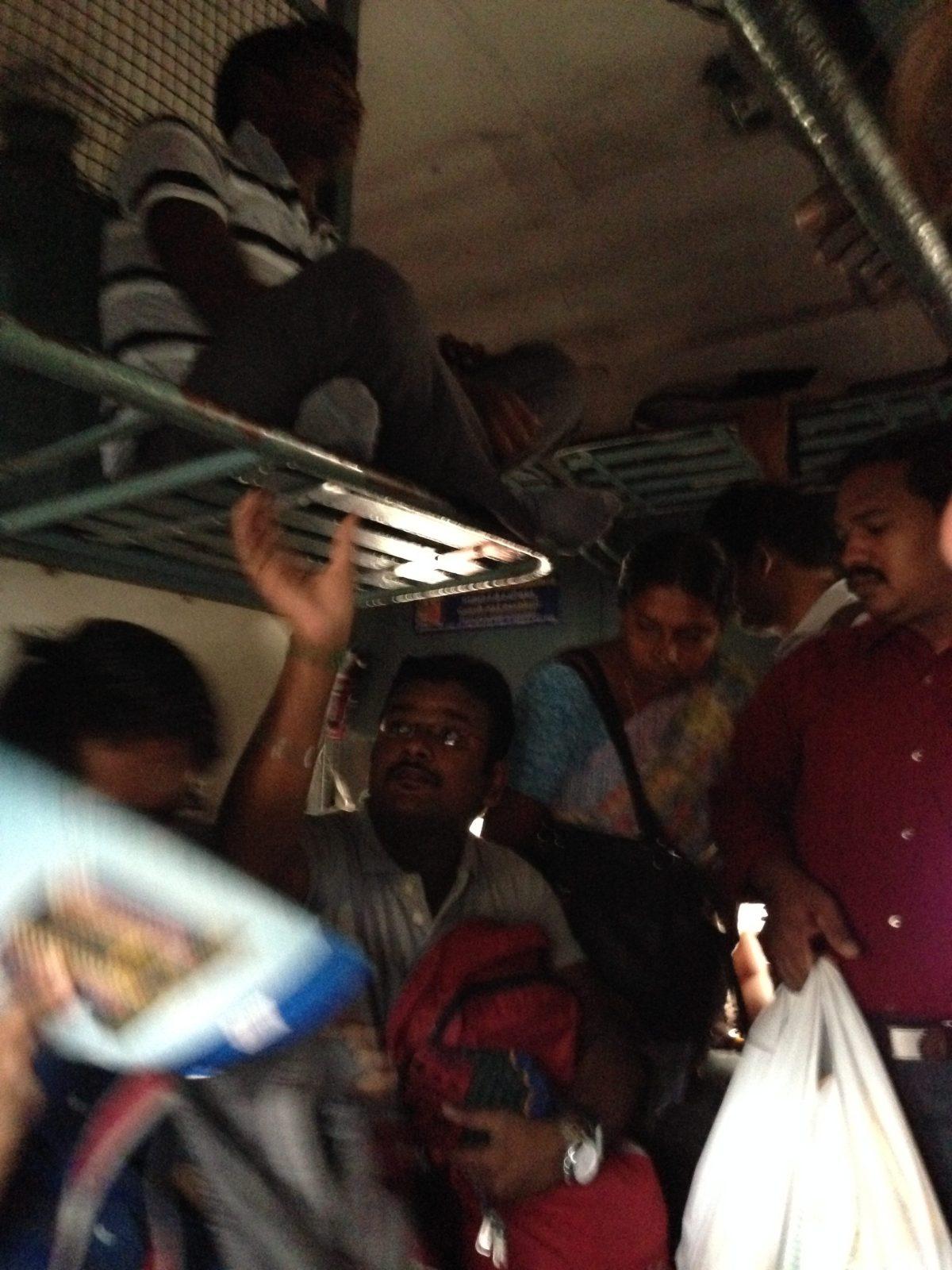 Pondicherry India Tourism: People on the Train from Chennai to Pondicherry