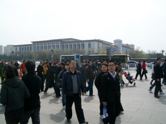 Crowded Tiananmen Square. It's hard to believe that this place was the site of a massacre...