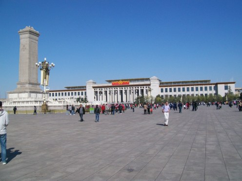 The Monument to the People's Heroes and the Mausoleum of Mao Zedong in Tiananmen Square.