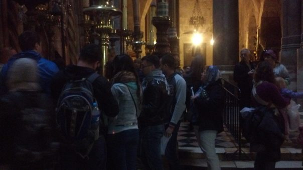 Just outside the Aedicule (where Jesus' grave is supposed to be).