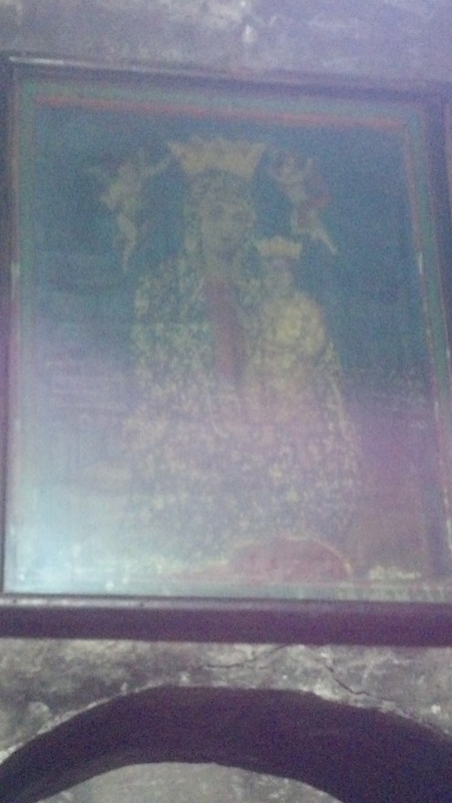 The Icon of Madonna painting in the Church of the Holy Sepulchre in Jerusalem, Israel.