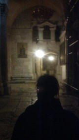 Jennifer walks on ahead at the Church of the Holy Sepulchre.