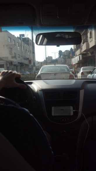 Driving into Bethlehem, Israel.