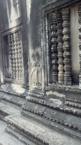 Stone carvings at Angkor Wat in Siem Reap, Cambodia.