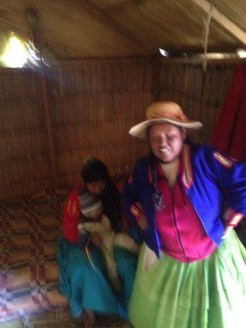 While we were at Lake Titicaca, she offered that we could try on some of her clothes.