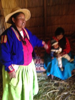 On the floating island that we visited at Lake Titicaca, the women wore bright colors.