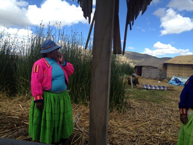 Another example of the colorful clothing on the reed islands on Lake Titicaca.