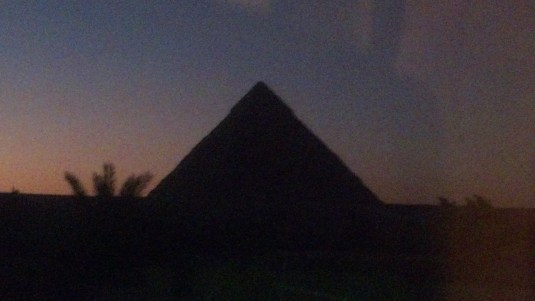 The Great Pyramid at sunset.