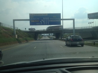 Driving in Johannesburg, South Africa.