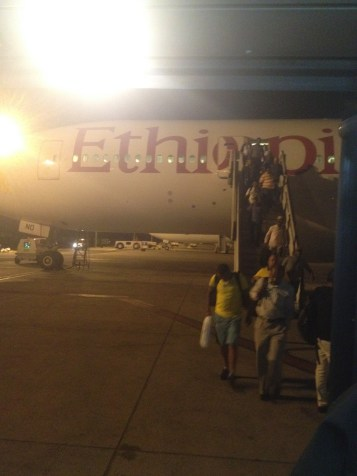 Boarding our Ethiopian Airways flight.