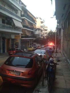 The street right outside of our vacation rental in Athens had a lot of car repair places and tire shops.