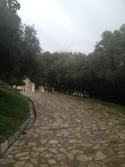 The walkway leading up to the Odeon of Herodes Atticus at the Acropolis in Athens.