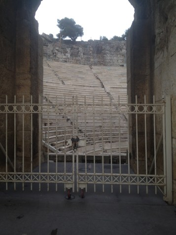The Odeon of Herodes Atticus at the Acropolis. There was a separate path that went up behind this structure so you could see it from a different view. On top of the hill was the Stoa of Eumenes.