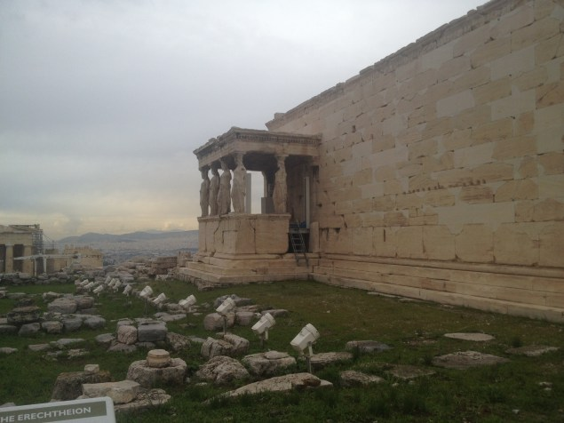 Most people know the Erechtheion from this section of it where statues of women function as columns.
