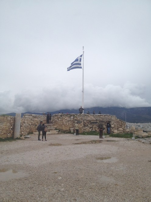 We didn't see the Greek flag a lot during our trip to Athens. The sighting of the flag at the Acropolis was one of the few times we saw it.