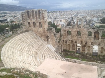 And another view of the Odeon of Herodes Atticus at the Acropolis overlooking the modern city of Athens.