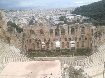 Another view of the Odeon of Herodes Atticus at the Acropolis overlooking the modern city of Athens.