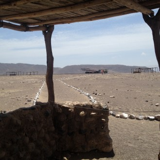 There were walkways created with rocks between shelters at Chauchilla Cemetery.