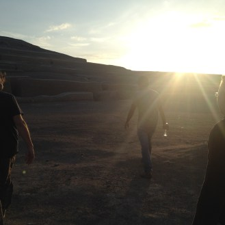 The sun was setting as we explored the Cahuachi Ruins with Raul in Nazca.