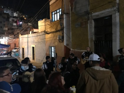 In this photo, Lydian is performing with the estudiantina group on a callejoneada near the Callejon del Beso in Guanajuato, Mexico.