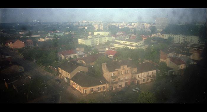 widok przez zapackana szybe na polnoc Kielc / northern skyline of Kielce by dirty window