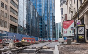 A completed track section embeded in rarmac - view along Bull Street from Corporation Street.