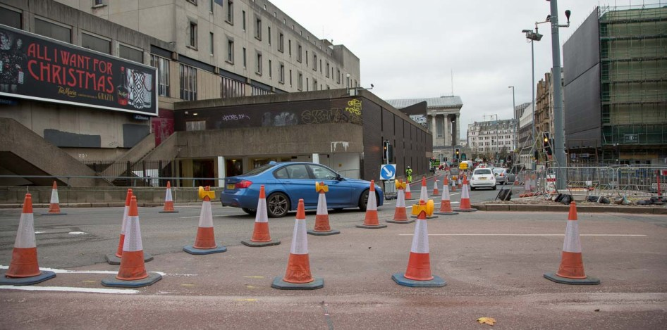 The junction of the new carriageway with Paradise Street (ahead) and Suffolk Street (to the right).