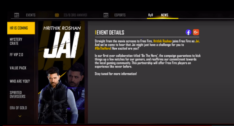 Image of how to get Jai Character in Free Fire