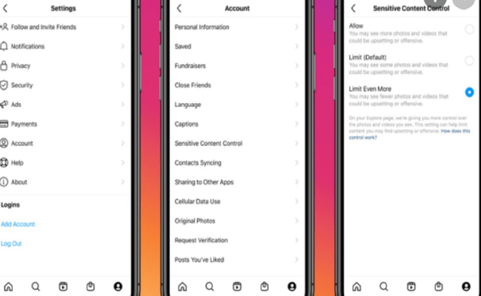 Image Of How To Use Sensitive Content Control Feature On Instagram