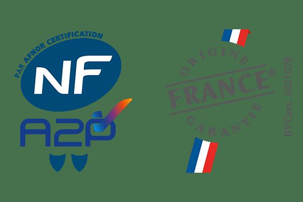 Certifications NFA2P et Origine France Garantie alarme Daitem