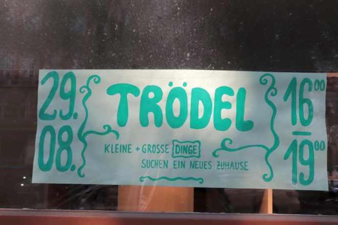Schild Trödelmarkt