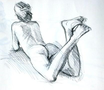 Fabienne allongée jambes fléchies