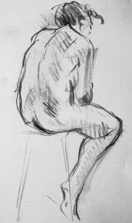 Dalila de dos assise une jambe groupée