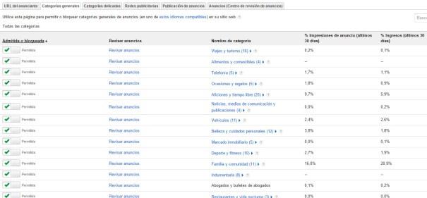 Bloquear categorías generales de anuncios de AdSense