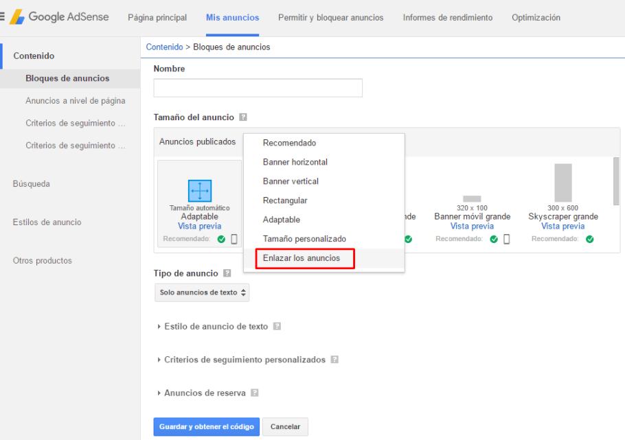 Cómo crear un bloque de enlaces de anuncios en AdSense