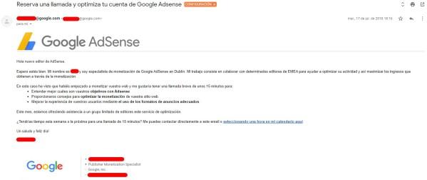 Email de invitación a asistencia personalizada de Adsense