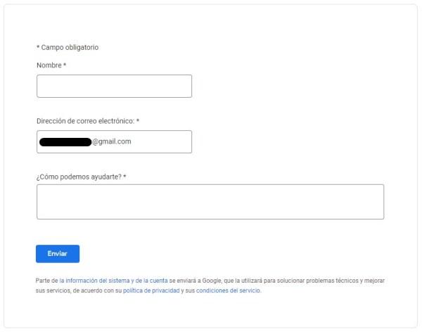 Formulario para solicitar chat de asistencia con Adsense
