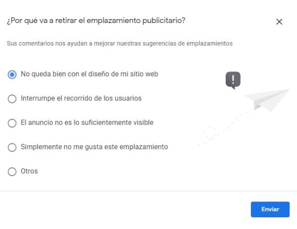 Cuestionario de por qué quieres eliminar una ubicación de los anuncios automáticos de Adsense